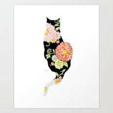 Exotic Floral Black Cat Silhouette Art Print