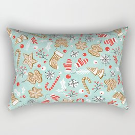 Gingerbread Dreams - Aqua Rectangular Pillow