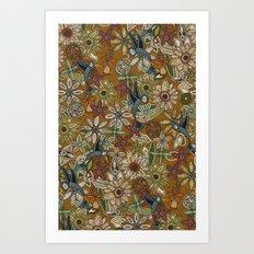 nectar bird garden gold Art Print