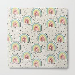 Rainbow Rain Liquorice Metal Print