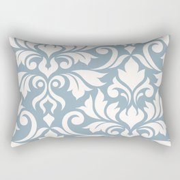 Flourish Damask Art I Cream on Blue Rectangular Pillow