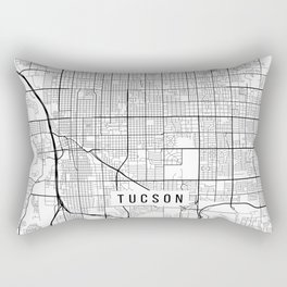 Tucson Map, Arizona USA - Black & White Portrait Rectangular Pillow