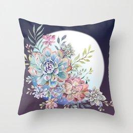 succulent fullmoon 7 Throw Pillow