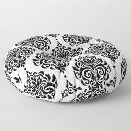 Black and White Damask Floor Pillow