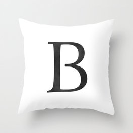 Letter B Initial Monogram Black and White Throw Pillow