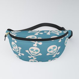 Blue seamless background. Skull and bones. Pirates. Fanny Pack