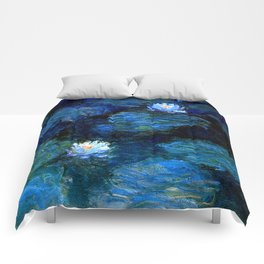 monet water lilies 1899 Blue teal Comforters