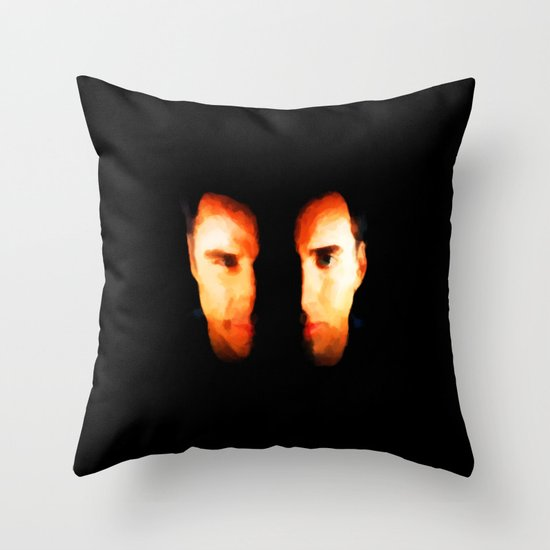 Face Off - Portrait Painting Style Throw Pillow
