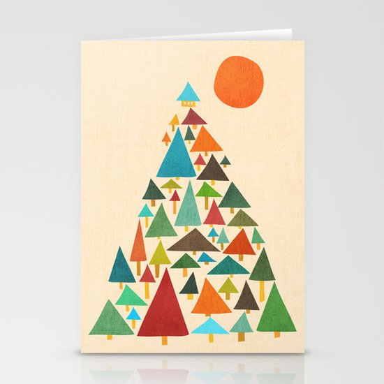The house at the pine forest Stationery Cards