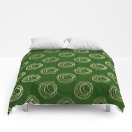 Forest green faux gold abstract geometrical swirls Comforters