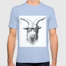 Hipster Goat Mens Fitted Tee Tri-Blue LARGE
