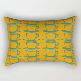Teacups - ochre and teal Rectangular Pillow