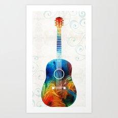 Colorful Guitar Art by Sharon Cummings Art Print
