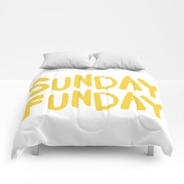 Sunday Funday - yellow hand lettering Comforters