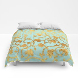 Golden Damask pattern Comforters