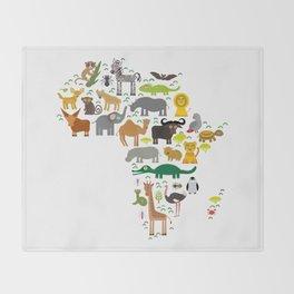 map of Africa: parrot Hyena Rhinoceros Zebra Hippopotamus Crocodile Turtle Elephant Mamba snake Throw Blanket