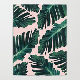 Tropical Blush Banana Leaves Dream #1 #decor #art #society6 Poster