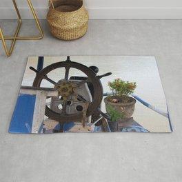 Mekong River Ship Detail ship's wheel potted plant Rug