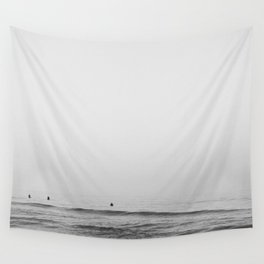 Surfers - Black and White Ocean Photography Huntington Beach California Wall Tapestry