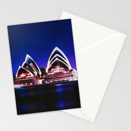 Night At The Sydney Opera House | Watercolor Painting Stationery Cards