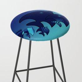 Nine Blue Fish with Patterns Bar Stool