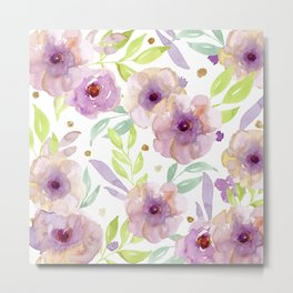 watercolor violet flowers Metal Print