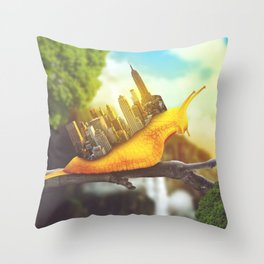 snail in the city Throw Pillow