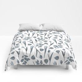 Modern botanical gray mauve teal floral pattern Comforters