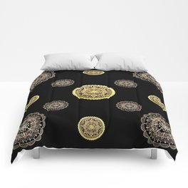 Gold and Rose Gold Mandalas on Black Background Textile Comforters