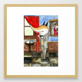 Fox enjoying a cup of tea Framed Art Print