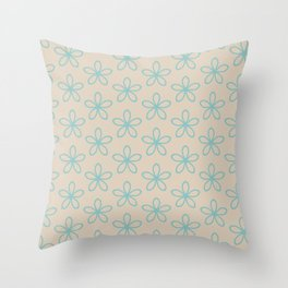 Aqua and Beige Minimal Flower Pattern 2021 Color of the Year Aqua Fiesta and Sourdough Throw Pillow