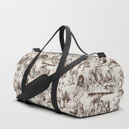 Alice in Wonderland   Toile de Jouy Pattern   Brown   Beige   Vintage Pattern   Victorian Gothic   Duffle Bag
