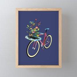 Bike and Flowers Framed Mini Art Print