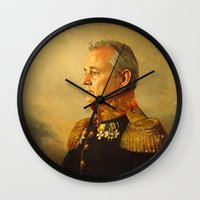 mega man Wall Clocks featuring Bill Murray - replaceface by replaceface