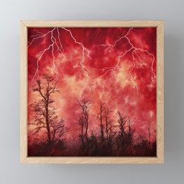 Mysterious Fiery Skies with Lightning Framed Mini Art Print