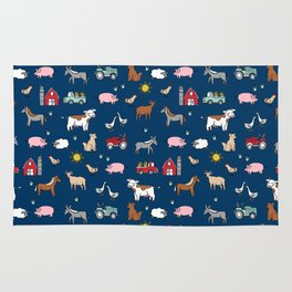 Farm animals nature sanctuary cow pig goats chickens kids gender neutral Rug