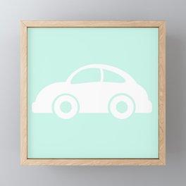 White cars on mint background nursery pattern Framed Mini Art Print