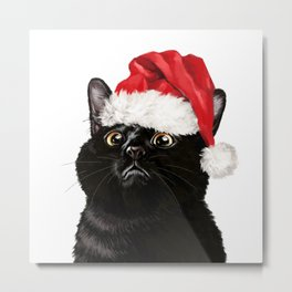 Christmas Black Cat Metal Print