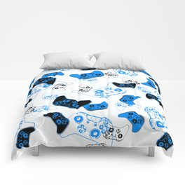 Video Game White and Blue Comforters