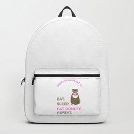 Groundhog Day Eat Sleep Eat Donuts Repeat Backpack