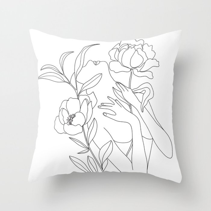 Minimal Line Art Woman with Peonies Throw Pillow