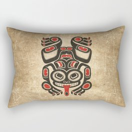 Red and Black Haida Spirit Tree Frog Rectangular Pillow