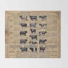 Vintage 1896 Cows Study on Antique Lancaster County Almanac Throw Blanket