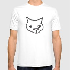 Concerned Cat White Mens Fitted Tee MEDIUM