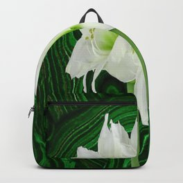 GREEN-WHITE AMARYLLIS FLOWERS ON BLACK-GREEN ART Backpack