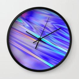 Chrome cool pattern blue purple silver Wall Clock