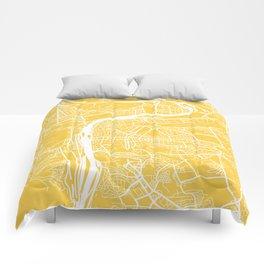 Prague map yellow Comforters
