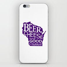 Purple and White Beer, Cheese and Good Company Wisconsin Graphic iPhone & iPod Skin