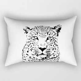 Leopard in Black and White Rectangular Pillow