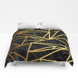 GEOMETRIC BLACK MARBLE Comforters